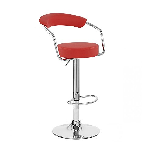 RED - Omicron Kitchen Padded Bar Stool (Set of 2)