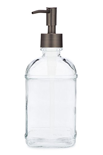 Catalina Glass Soap Dispenser Liquid Hand Soap Pump for The Kitchen and Bathroom Sink - Great for Dish Soap, Hand Soap and Hand Lotion (Bronze Rustic)