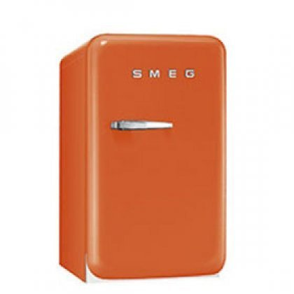 Smeg FAB5URO 16″ 50's Retro Style Series Compact Refrigerator with 1.5 cu. ft. Capacity Absorption Cooling Automatic Defrost LED Interior Lighting and Adjustable Shelves in Orange with Right