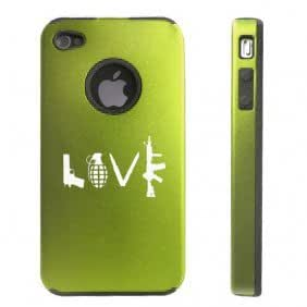 Apple iPhone 4 4S 4G Green DD428 Aluminum & Silicone Case Love Gun Grenade Bullet Knife M4