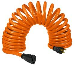 Flexy Heavy-duty Coiled Extension Cord 14 Gauge 15 Amps - Extends From 20 In. To 45 Ft.
