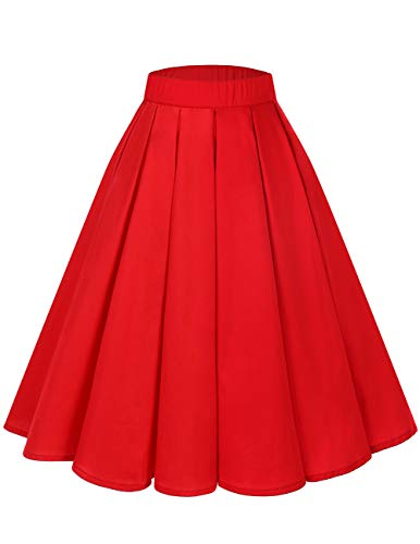 Bridesmay Women's Vintage Pleated Floral Printed A-line Swing Skirt with Pockets Red L