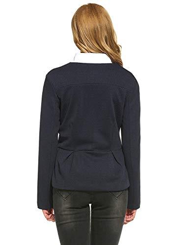 Donna Tasche Collo Cerniera Puro Con Blazer Giacca Anteriori Da Classiche Calda Lunga Rotondo Autunno Tailleur Ragazzi Coat Outwear Blau Manica Colore Stile Modern 7r78xAwzq