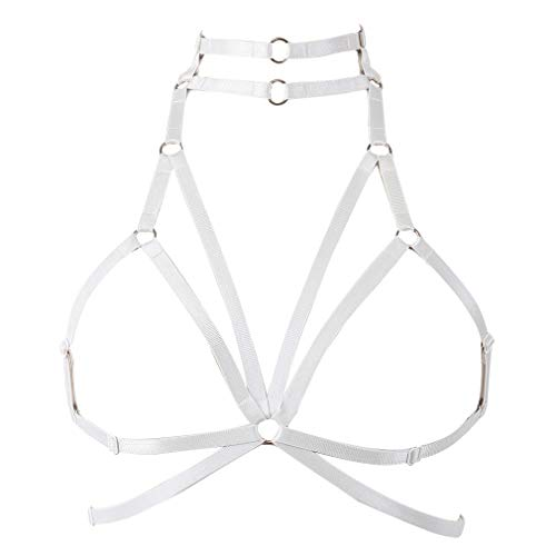 Strappy Harness Tops Cupless Bra Body Cross Punk Gothic Rave Dance Plus Size (White)