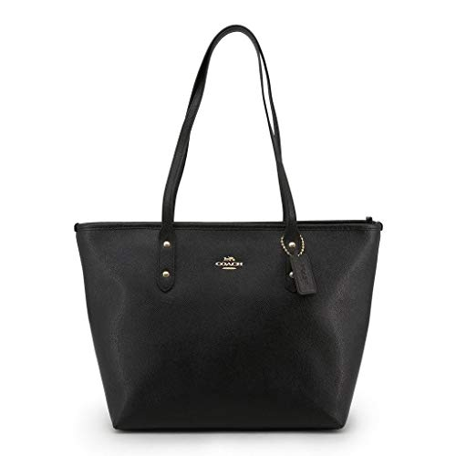 Coach Women's Crossgrain Leather City Zip Tote No Size (Im/Black)