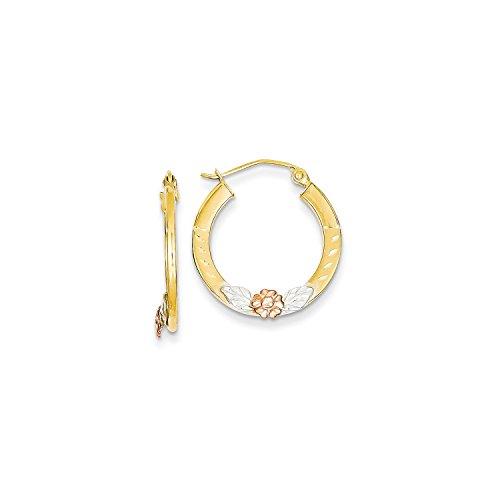 Roy Rose Jewelry 14K Yellow Gold Yellow & Rose Gold w/ Rhodium Diamond Cut Flower Hoop Earrings ~ 20mm width