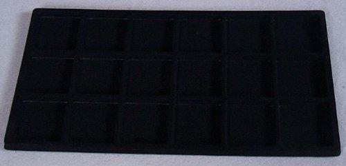 - 18 Compartment Black Flocked Insert - Fits 14 x 8 inch Riker Ryker Specimen Mount Chipboard Display Case