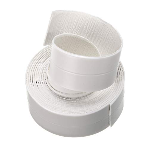 "Sumnacon Bathtub PE Caulk Strip, Self Adhesive Waterproof Flexible Sealing Tape For Bathtub,Sink,Wall, Anti-mildew Tub Sealer Decorative Trim 1-1/2"" x 11' White (White)"