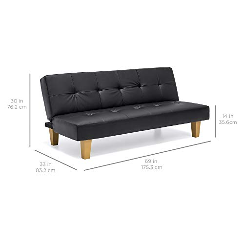 Best Choice Products Upholstered Button Tufted Faux Leather Convertible Reclining Lounge Couch Futon Sofa Bed w/ Sturdy Wood Frame - Black