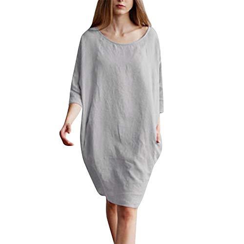3e9c87e8522d7a Rayures Femme Lhwy Coton À Robe De ❤robe Chemise Gris Pour Couleur ...