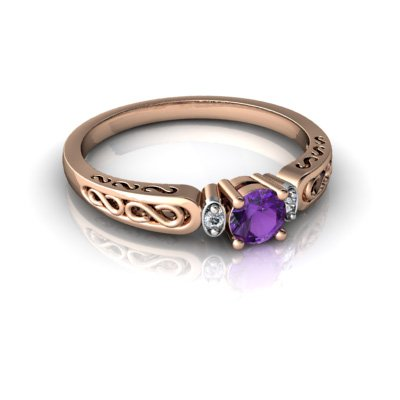 14kt Gold Amethyst and Diamond 4mm Round filligree Scroll Ring