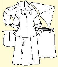 Shift, petticoat, short gown, apron, handkerchief and pocket