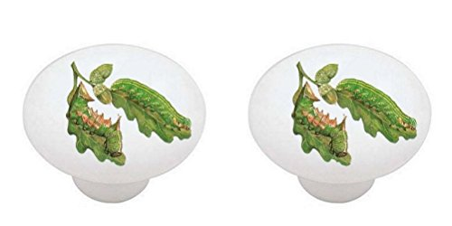 SET OF 2 KNOBS - Caterpillar #006 - Bugs Insects - DECORATIVE Glossy CERAMIC Cabinet PULLS Dresser Drawer (Caterpillar Drawer Pull)