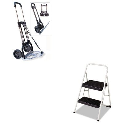 KITCSC11135CLGG1STB390009CHR - Value Kit - Stebco Portable Slide-Flat Cart (STB390009CHR) and Cosco 2-Step Folding Steel Step Stool (CSC11135CLGG1) by Stebco