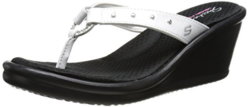 Skechers Women's Rumblers-Cat's Eye Flip Flop,White,9 M US