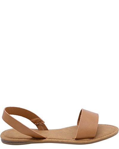 Anne Michelle Womens Back Flat Sandal (verkrijgbaar In 4 Kleuren) Tan