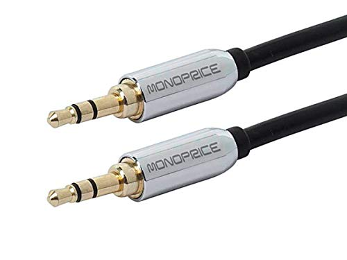 Monoprice 109766 10-Feet 3.5mm Stereo Male to 3.5mm Stereo Male Gold Plated Cable for Mobile, Black