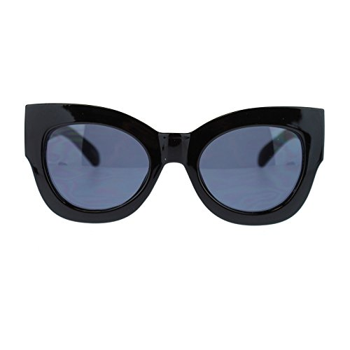 Womens Nerdy Thick Heavy Plastic Frame Cat Eye Horn Rim Oval Sunglasses - Sunglasses Thick