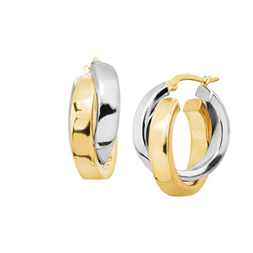 Eternity Gold Overlapping Hoop Earrings in 14K Two-Tone Gold