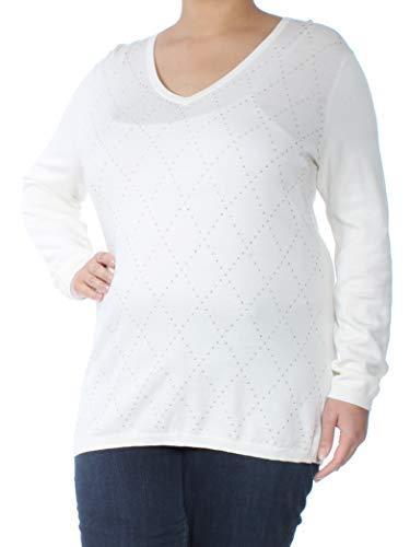 (Tommy Hilfiger Womens Argyle V-Neck Pullover Sweater Ivory XL)
