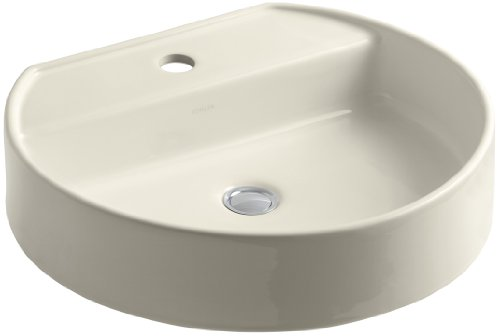KOHLER K-2331-1-47 Chord Wading Pool Bathroom Sink with Single-Hole Faucet Drilling, Almond -
