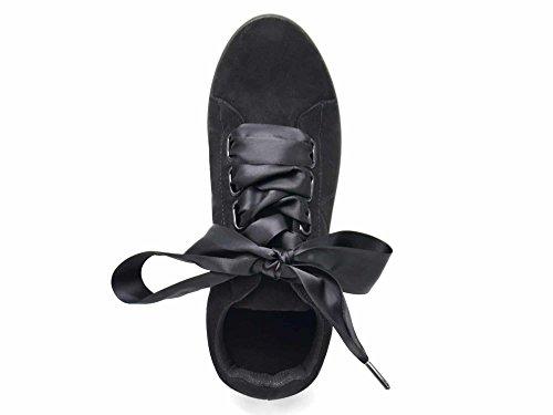 Semelle Satin Surpiqûres Tennis Effet Baskets avec et Ruban Unie Sneakers SHY55 Noir Daim PzRfqxFx