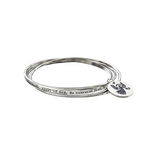 Angel Medallion Charm Bangle Bracelet Set in Stainless Steel