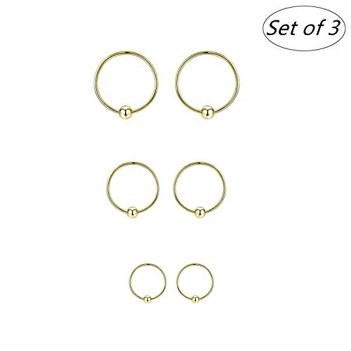 3 Pairs Sterling Silver Cartilage Earrings Dainty Thin Small Hoop Earring Unisex Hypoallergenic Mini/Tiny Huggie Hoops - Ear Piercing Endless Ball Bead Cut Nose Lip Sleeper For Women Men (Yellow Gold)