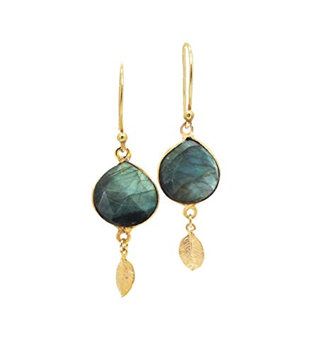 24K Gold Plated Labradorite Earrings with Leaf Charm