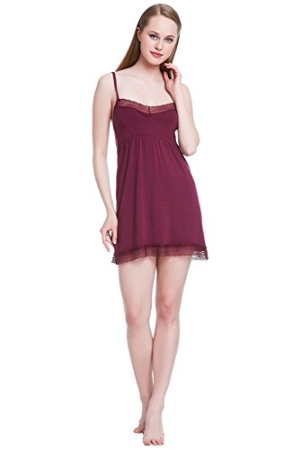 Alexander Del Rossa Womens Modal Knit Nightgown, Short Lace Accented Camisole, Medium Deep Purple (A0416DPUMD)