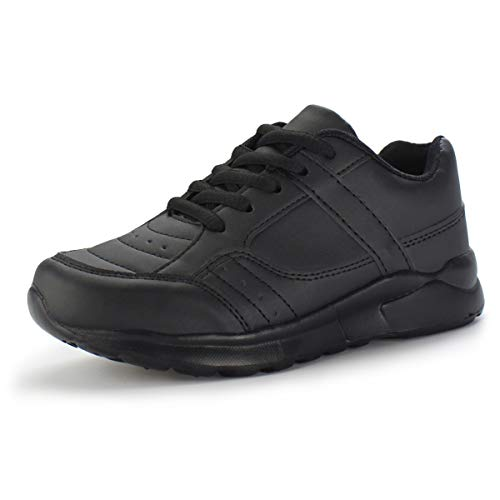 Hawkwell Boys Girls Athletic Running Shoes Casual Sneakers, Black PU, 1 M US (Black School Shoes For Boys)