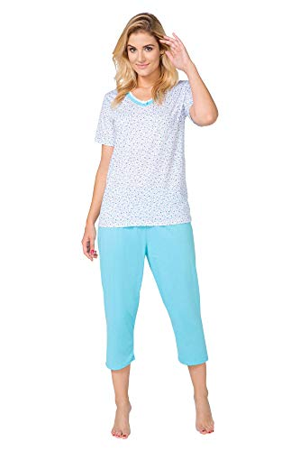 Big Size Pigiama da Donna Due Pezzi di Cotone T-shirt Pantaloni con Sovrastampa Plus Size Grandi Dimensioni (2XL-6XL) Becomfy Alice Blau Klein Blume