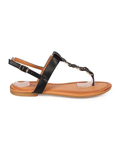 Cherish EE82 Women Leatherette Woven Chain Slingback T-Strap Thong Sandal Black PLFk7p8C