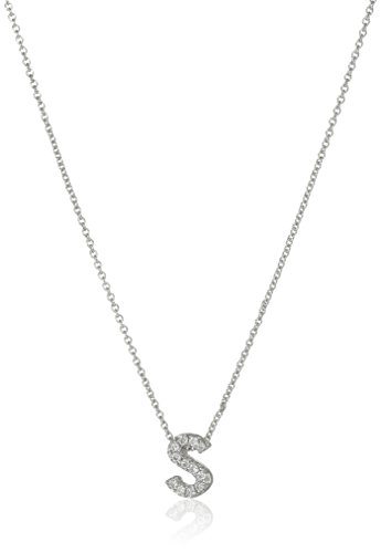 Roberto Coin ''Tiny Treasures Love Letter'' 18k White Gold Diamond Block Letter S Pendant Necklace by Roberto Coin