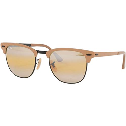 Ray-Ban Clubmaster Metal Square Sunglasses, Black on Top Matte Beige, 50.8 mm