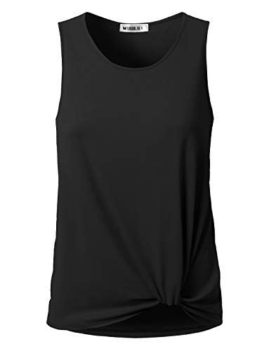 - Doublju Women's Floral & Solid Sleeveless Round Neck T-Shirts, Black L