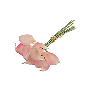 """Colorfulife 8pcs Artificial Flowers 13"""" PU Mini Calla Lily Bridal Wedding Bouquet Head Latex Real Touch Flower Bouquets 18"""