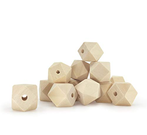 30 Unfinished Wood Beads 20mm 6/8 Inch Geometric Faceted Wood Bead with 4.2mm Hole (Bead Metallic Wood)