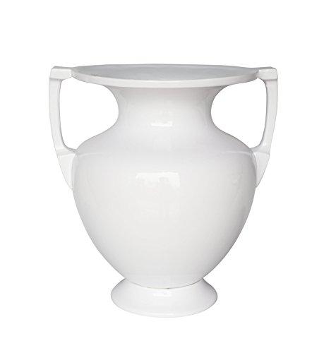 Sagebrook Home 12248-03 Decorative Modern Ceramic 2-Handled Urn, White Ceramic, 14.25 x 11.5 x 15.25 - Urns 3 Resin