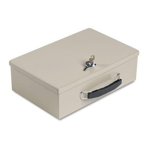 Insulated Box Security - Heavy-Duty Steel Fire-Retardant Security Cash Box, Key Lock, Sand, Sold as 1 Each