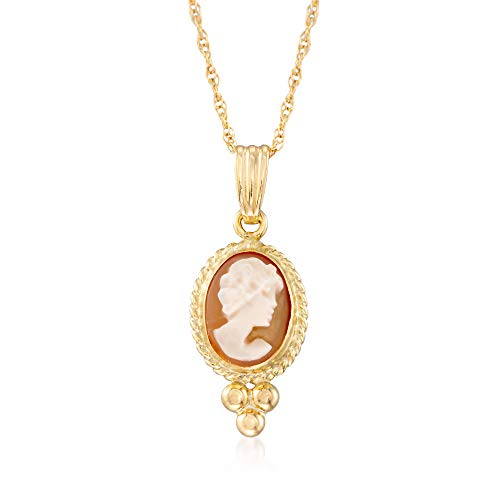Ross-Simons Shell Cameo Rope Bezel Pendant Necklace in 14kt Yellow - Clasp Cameo Shell Jewelry
