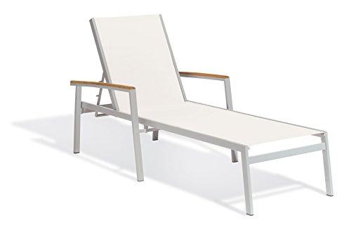 - Oxford Garden Travira TVL80C2 Chaise Lounge - Natural Sling - Teak Armcaps - Set of 2