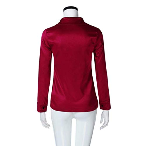 top maniche camicetta Red lunghe XXL donne AiBarle a in rosso moda Business Button maglietta seta casual 4BInqTWwf