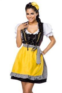Dirndl mit Bluse und Schürze inklusive Kleid, Bluse, Schürze und Bindeband in schwarz, weiß, gelb
