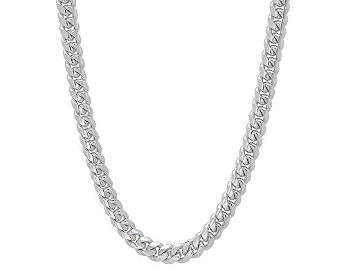 (Verona Jewelers 925 Sterling Silver 6.5MM 7MM 9MM Italian Miami Cuban Necklace Chain, Thick Link Miami Cuban Necklace, Box Clasp Closure - 24-30 (22, 9MM))
