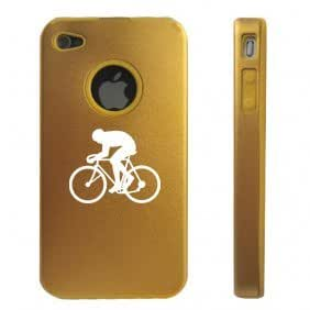 Apple iPhone 4 4S 4 Gold D3099 Aluminum & Silicone Case Cover Bicycle Cyclist
