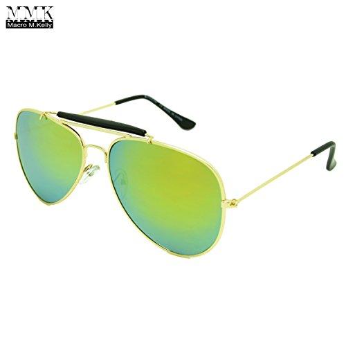 MMK collection Fashion Aviator Style Sunglasses~Designer Sunglasses~Classic Sunglasses~2017 In Trend Sunglasses (Gold/Yellow, 60mm x (Marco Eyewear Sunglasses)