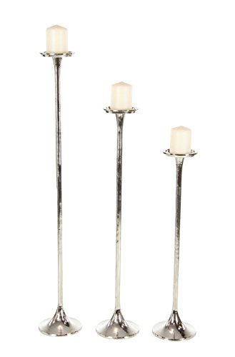 Deco 79 38037 Tall Metallic Silver Candle Holders (Set of 3), 27