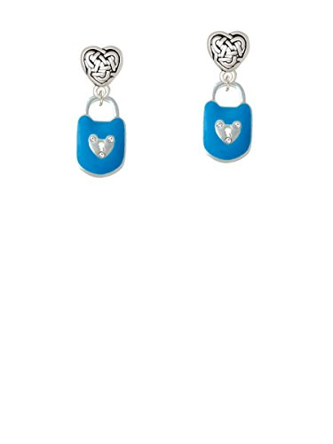 Hot Blue Enamel Lock with Clear Crystals - Celtic Heart Earrings