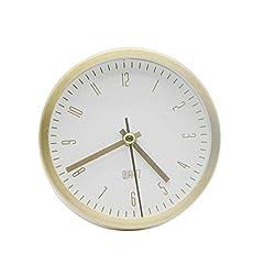 LuYiLei Modern Simple Design Alarm Clock, 4 inch Round Super Silent Desk Decorative Alarm Clock, Metal Material Frame, Quartz Alarm Clock, Silent Sweep Seconds, Battery Operated Snooze (White)